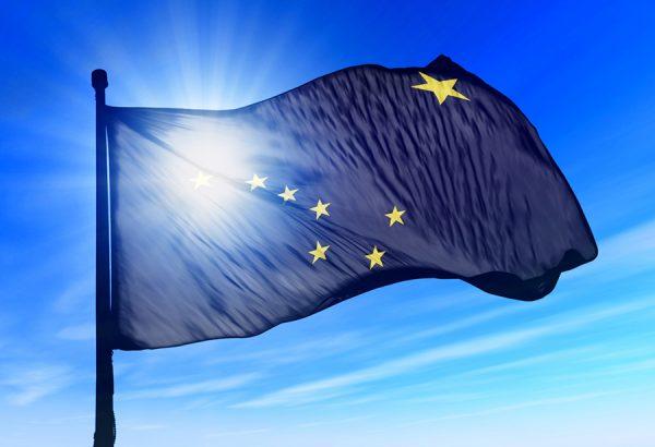 Alaska (USA) flag waving on the wind